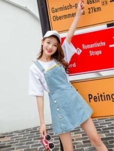 韓国 オルチャン ジャンスカ ボタン ミニ丈 ガーリー アメリカン 遊び デート 個性的