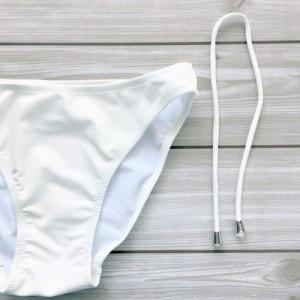 水着セット ビキニセット タンキニビキニ 体型カバーフリル 3点セット ホワイト【クリックポスト送料無料】