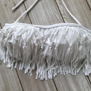 水着 バンドゥ フリンジ ビキニ 2点 セット  ホワイト 白 ダマスク柄 リゾート柄【クリックポスト送料無料】