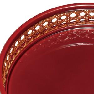 紀州塗り 7.5寸 籐編鉢 溜(天然籐使用)