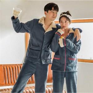 ペア パジャマ カップル ペア 部屋着 裏起毛 ペアパジャマ 冬向き カップル ペア ルームウェア 長袖 もこもこ 韓国 上下セット パジャマ