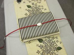着物感覚で!粋な大人の浴衣・送料無料!紫陽花柄浴衣セット・縞京袋帯