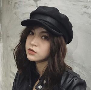 """""""ウール×合皮 キャスケット 帽子 レザーハット つば広 キャスケット"""""""