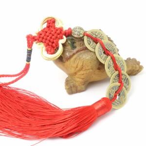 中国結 風水 五帝 古銭 壁飾り 幸運 お守り 金運アップ 五帝古銭 赤 飾り物 金運祈願 開運風 水五