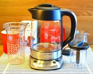 ドイツ クルプス 茶こし付ガラス電気ケトル 温度調整 保温機能付 電気ポット Krups FL700D51 Electric