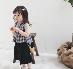 4d3ecf6ed45ff キッズ ベビー服 セットアップ 海外 子供服 ノースリーブ 短パン 夏 上下セット チェック柄 子ども服 100cm. 韓国 子供服
