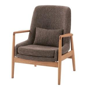 ソファ 1人掛け 1人用 北欧 天然木 オーク 肘あり 木肘 おしゃれ クッション ファブリック 布 木製 新生活