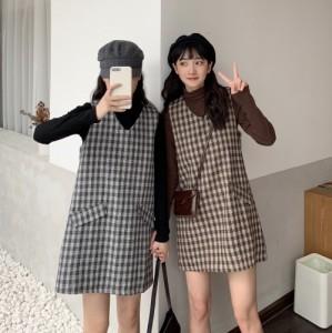 レトロ チェック柄 ワンピース おソロ タイト ジャンスカ オルチャンファッション 韓国ファッション