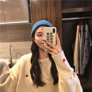ハート ニット ペアルック 刺繍 オルチャンファッション 韓国ファッション
