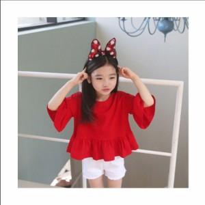 6928a45bbda27 Tシャツ 子供服 フリル 女の子 半袖 トップス キッズ服 赤 レッド 可愛い 90 100 110 120 130 140 150 160  メール便可能の通販はWowma!