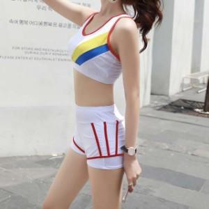 セパレート 水着 カジュアル スリーピース ビキニ スポーツタイプ フード付きアウター 大きめサイズあります レディース★
