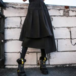 秋冬物 アシンメトリースカート プリーツスカート カジュアル ビジュアル系 無地 ブラック 冬服 レディース 韓国 ファッション