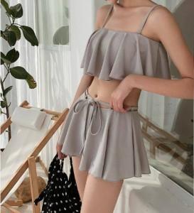 フレア ビキニ フレアスカート グレー 体型カバー レディース 水着 リゾートファッション