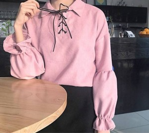 【送料無料】 編み上げがかわいい パフスリーブレースアップブラウス 全3色