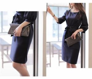 ウエストリボンドレス ワンピース シンプル オフィス ひざ丈 セミフォーマル