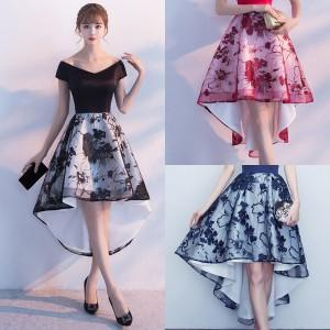 深広Vネックと花柄刺繍のフィッシュテールスカートが大人セクシーなミモレ丈フレアワンピース