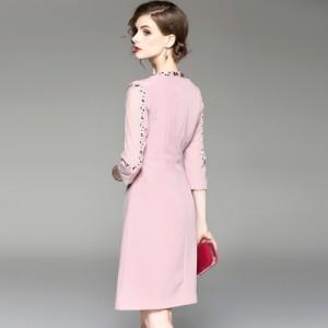 c85086c2075d9 花柄 刺繍 ひざ丈 ワンピース ドレス 袖あり ピンク お呼ばれ 20代の通販 ...