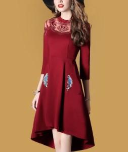 67e535b74538c フィッシュテイル ドレス ワンピース レディース 大きいサイズ パーティードレス ミニ 膝丈 Aライン 袖あり