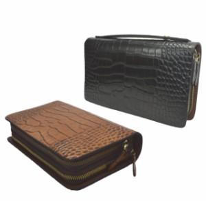 9341bf01038f ダブルファスナー 長財布 セカンドバッグ クラッチバッグ クロコ型押し 牛革