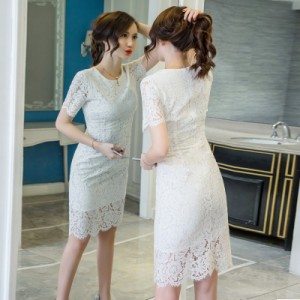 056e4a2043369 レースドレス 5色 S~2XL 大きいサイズ ドレス ひざ丈 半袖 レース タイト 大人エレガント パーティー デイリーにも 秋新作の通販はWowma!