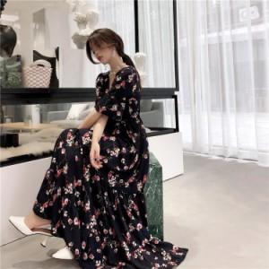 カシュクール × ティアード 2color 花柄 ワンピース フェミニン トレンド感満載アイテム