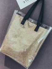 透明 クリア バッグ キラキラ メタリック インナー バッグ トート バック A4 大容量 レディース