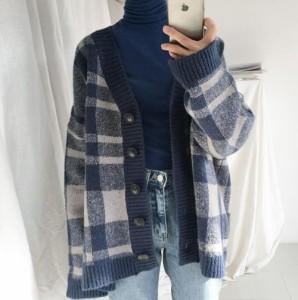 【取り寄せ】レディース トップス カーディガン チェック柄 ニット 長袖 シンプル ゆったり 可愛い おしゃれ 暖かい デイリー カジュアル