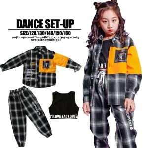 【子供服yuai】◇キッズ ダンス衣装 チェック セットアップ  女の子 男の子 キッズ ジュニア 120 130 140 150 160 レッスン着 ブラック