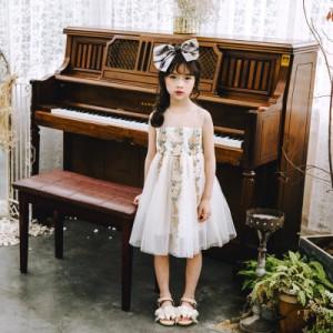 6aebb2a2e7b2b スカートドレス キッズ 子供服 花柄 刺繍 チュール おしゃれ 女の子 発表会 誕生日 ピアノ