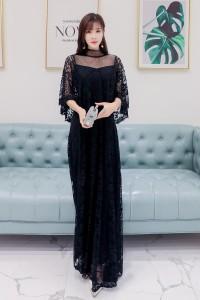 レース地5分袖ミモレ丈クラシカルワンピース ブラック 結婚式 ドレス お呼ばれ ワンピース 20代 30代 40代 ワンピースドレス ワンピース