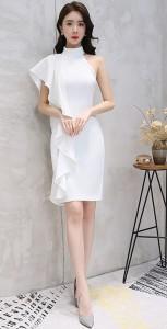 8f7eea42fd162 ワンショルダー アシンメトリー パーティードレス タイト 結婚式 ミモレ丈 結婚式 ドレス お呼ばれ ワンピース 30代 フォーマル キャバ
