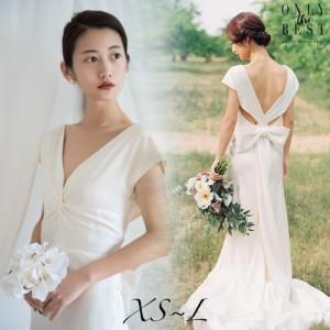 b6c75a18c555c バックリボン ウェディングドレス 白 二次会 花嫁 大きいサイズ 二次会 ドレス 花嫁 ウェディングドレス 激安 販売