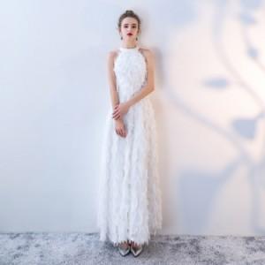 ea68ec9cb7fe7 大人気 ふわふわフェザー ホルターネック ウェディングドレス 白 二次会 花嫁 ウェディングドレス 大きいサイズ激安ウェディングドレス  の通販はWowma!