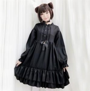 二枚送料無料/ゴスロリ ワンピース ロリータファッション 黒 ドレス ロリィタ 半袖 長袖 膝丈 Lolita コスプレ 魔女 ゆめかわいい 可愛い