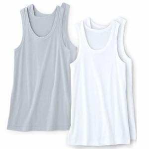 メンズ下着 メンズ 肌着 インナー インナーシャツ アンダーシャツ 2枚組 男の消臭・抗菌 ランニングシャツ/綿100% 3L 5L|2202-286240