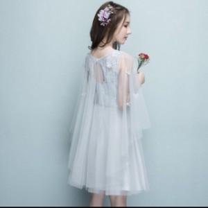 【レディース】ドレス ミニ ワンピース :レース 透け感 結婚式 二次会 パーティー 刺繍 チュール エレガント 大人