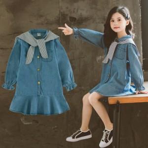 韓国子供服 女の子 長袖 デニムワンピース  ジュニア  子供ドレス ワンピース通学着/通園着 可愛いカジュアル 新品