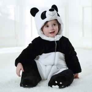 あたたかカバーオール パンダ 柔らか優しい手触り 70cm~120cm 0ヵ月3才 赤ちゃん服 冬 子ども用コスプレ オーバーオール