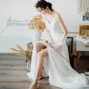 ワンピース ウェディングドレス ウエディングドレス オーダーメイドも可能  キャミソール トレーン 【XS〜XXL】【wd173jx】