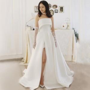 ウェディングドレス オーダーメイドも可能 ウエディングドレス Aライン ビスチェ 編み上げ 【XS〜XXL】【wd259jx】
