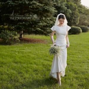 ウェディングドレス オーダーメイドも可能 ウエディングドレス フレア袖 ファスナー 【XS〜XXL】【wd275jx】