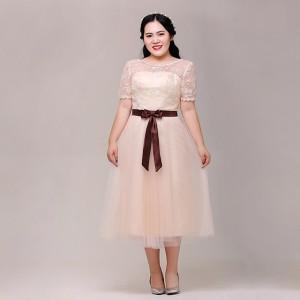 大きいサイズカラードレス/ミモレ丈/ウェディングドレス/ブライズメイドドレス/編み上げ/ライトシャンパン/XL〜7XL/fhd10