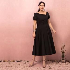 大きいサイズカラードレス/ミモレ丈/ウェディングドレス/ブライズメイドドレス/袖あり/ファスナー/ブラック/2XL〜7XL/fhd14