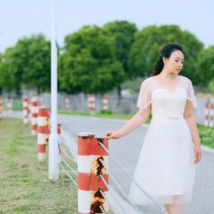 大きいサイズカラードレス/ミモレ丈/ウェディングドレス/ブライズメイドドレス/編み上げ/ライトシャンパン/2XL〜7XL/fhd18
