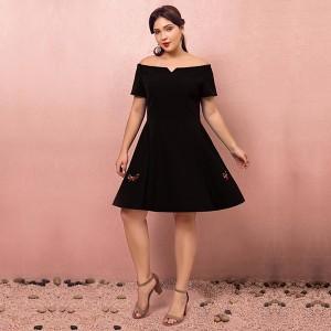 大きいサイズカラードレス/ミモレ丈/ウェディングドレス/ブライズメイドドレス/ファスナー/ブラック/2XL〜7XL/fhd20