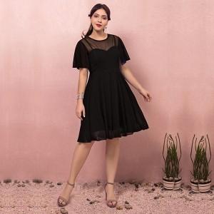 大きいサイズカラードレス/ミモレ丈/ウェディングドレス/ブライズメイドドレス/ファスナー/ブラック/XL〜7XL/fhd23