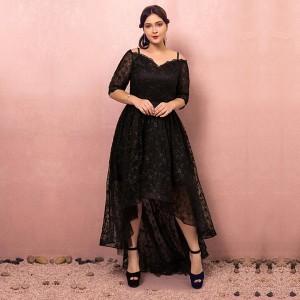 大きいサイズカラードレス/ミモレ/High-Lowドレス/オフショルダー/フィッシュテール/袖付き/編み上げ/ブラック/2XL〜7XL/fhd26
