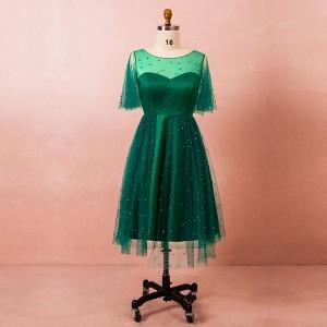 大きいサイズカラードレス/ミモレ丈/ウェディングドレス/ショートドレス/袖付き/刺繍/編み上げ/グリーン/XL〜7XL/fhd31