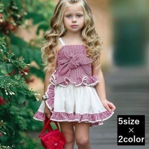 7154b28800964 セットアップ 上下2点セット キッズ ガールズ 女の子 子供服 キッズ服 2ピース キャミソール ノースリーブ
