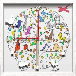 取寄品 送料無料 David Severn 壁掛け時計 アーティストウォールクロック Bird 可愛いインテリア